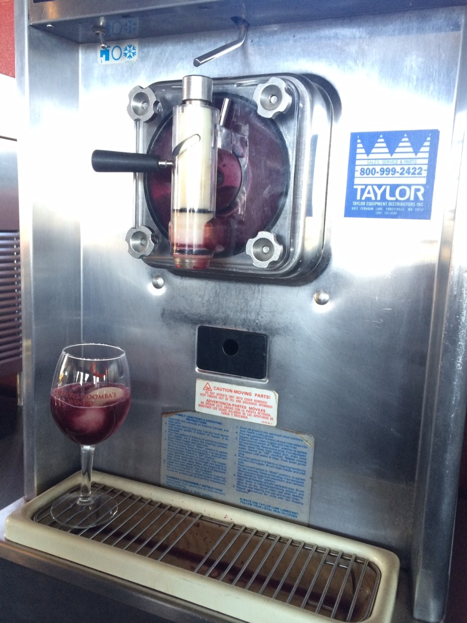 The winery's frozen wine drinks are made in an industrial-size frozen smoothie machine to achieve the ideal frozen consistency.  (WTOP/Rachel Nania)