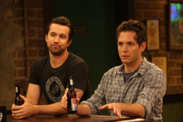 "This photo provided by FX shows, Rob McElhenney, left, as Mac, and Glenn Howerton as Dennis in a scene in episode 4 of ""Charlie's Work"" from the television series, ""It's Always Sunny in Philadelphia,"" airing Wednesday, Feb. 4, 2015, at 10:00 p.m. ET/PT.  (AP Photo/FX, Patrick McElhenney)"
