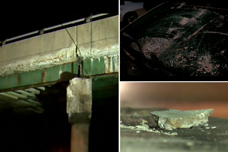 Repair work begins after chunk of Md. bridge hits car