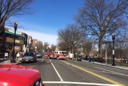 D.C. fire truck gas leak Wisconsin Avenue