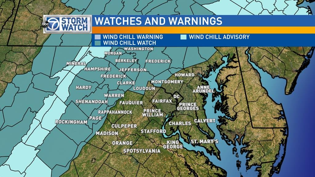 A wind chill watch is in effect for areas shaded in dark blue on Sunday from midnight until noon.