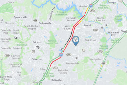 As of 11:20 p.m., the road closure has created long delays in the area, both north and southbound. (WTOP)