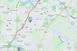 As of 12:20 p.m., the road closure has created long delays in the area, both north and southbound. (WTOP)