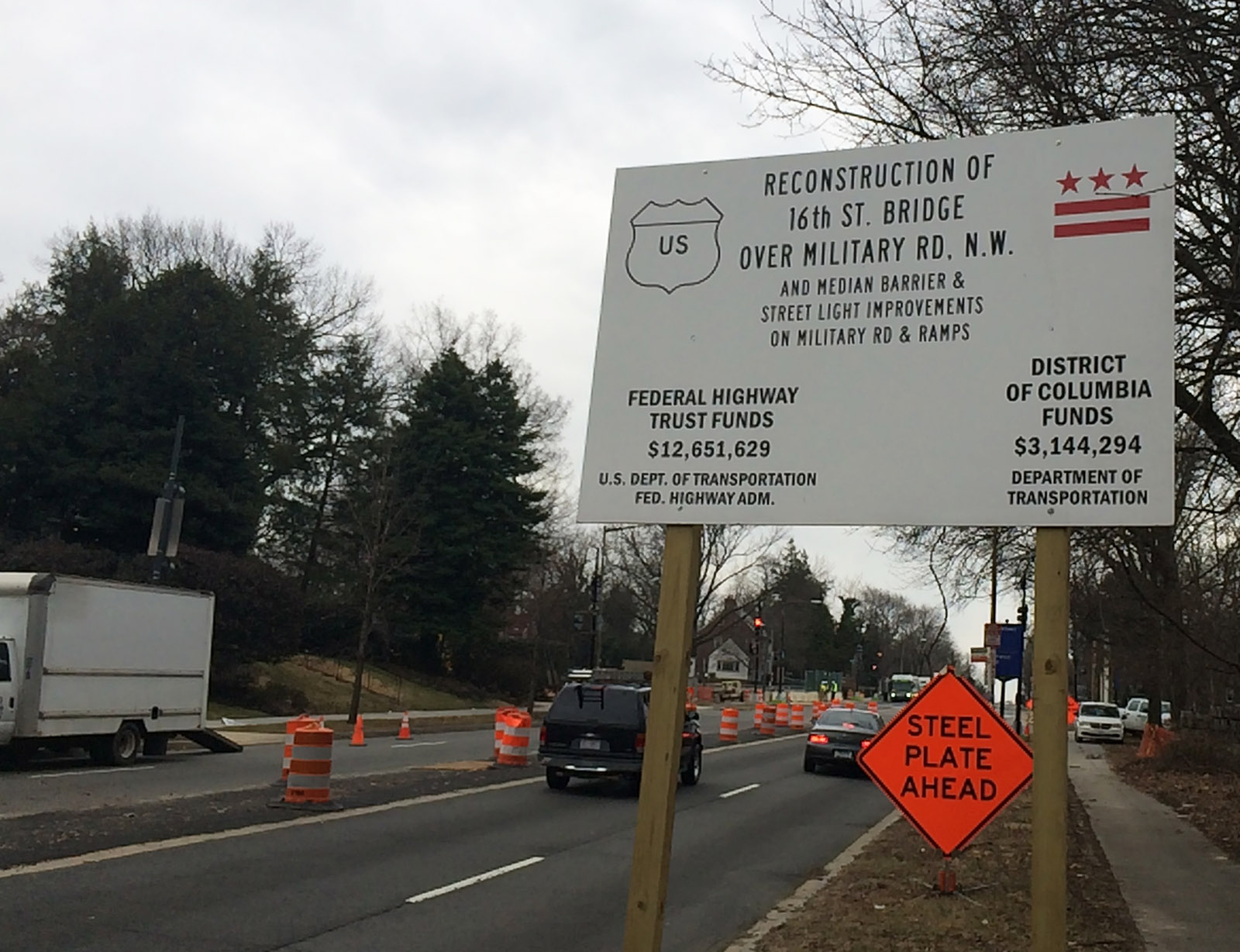 The 16th Street Bridge over Military Road will be replaced during the next four months. Commuters can expect lane closures and delays beginning Friday, March 27. (WTOP/Nick Iannelli)