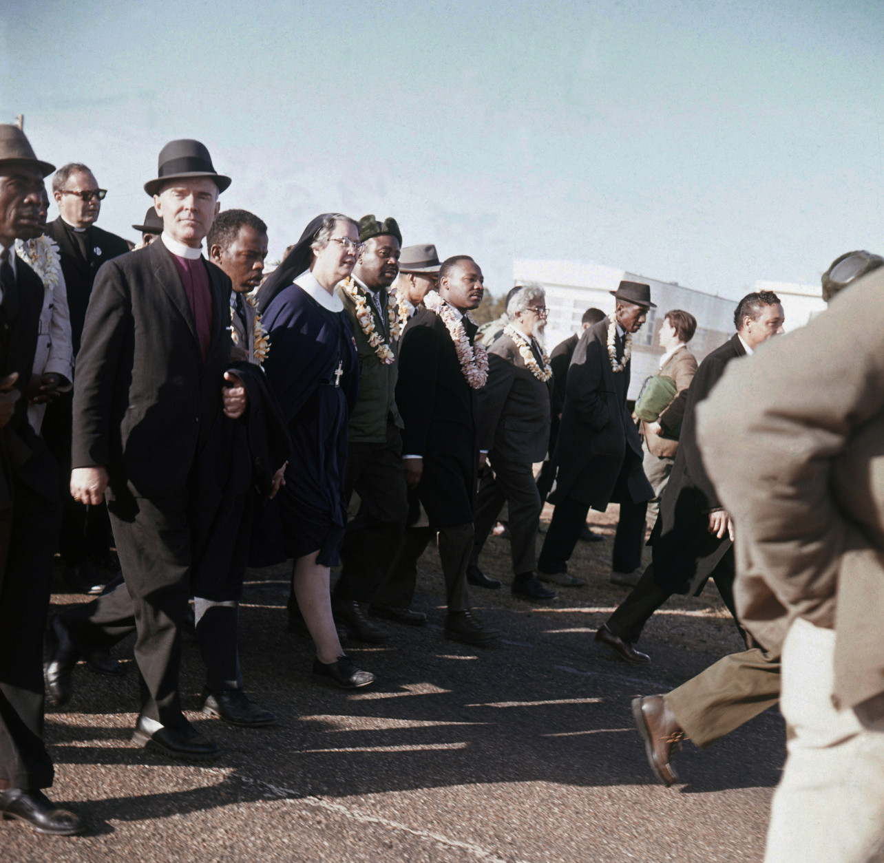 FILE - In this March 1965 file photo, Martin Luther King, center, leads a march from Selma to Montgomery, Ala. In early 1965, King's Southern Christian Leadership Conference began a series of marches as part of a push for black voting rights. (AP Photo/File)