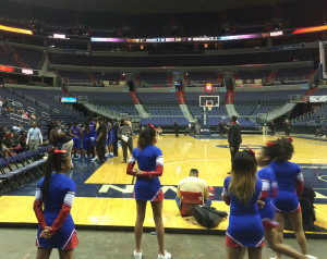 Anacostia brought a full complement of cheerleaders and a couple dozen teachers in support. (WTOP/Noah Frank)