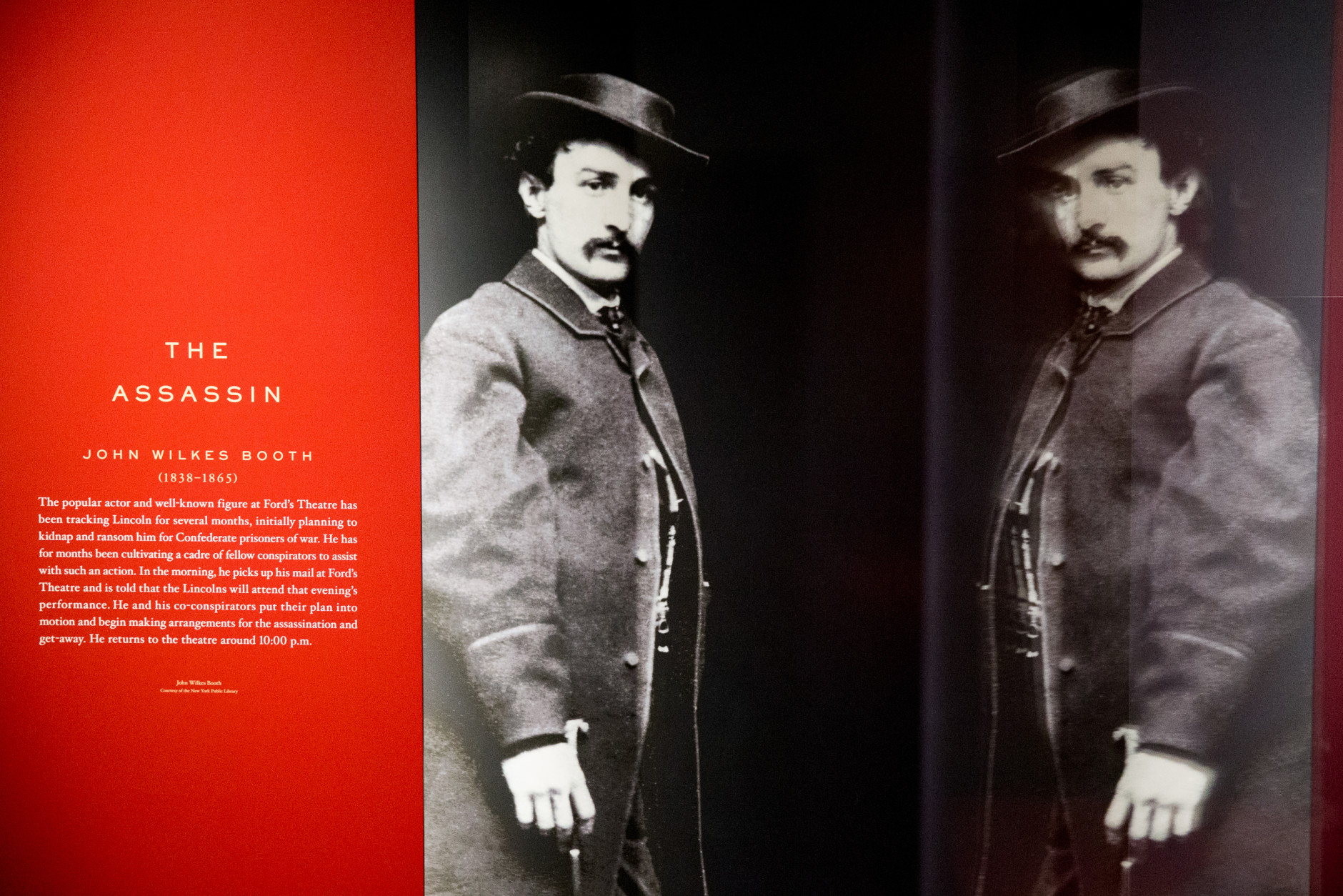 """A large photograph depicting President Abraham Lincoln's assassin John Wilkes Booth is displayed at a new exhibit entitled """"Silent Witnesses: Artifacts of the Lincoln Assassination"""" Tuesday, March 17, 2015 at the Ford's Center for Education and Leadership across the street from the historic Ford's Theatre, in Washington. The exhibit is open to the public March 23rd to May 25th and coincides with the 150th anniversary of the Lincoln assassination on April 14th. (AP Photo/Andrew Harnik)"""