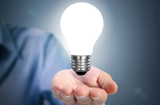 light bulb in hand