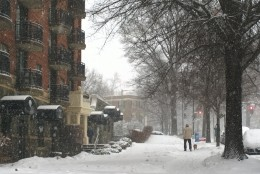 Pennsylvania Avenue NW in the snow. (WTOP/Megan Matthews)