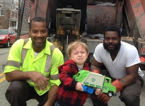 Kid Overwhelmed When He Meets His Garbage Men Heroes