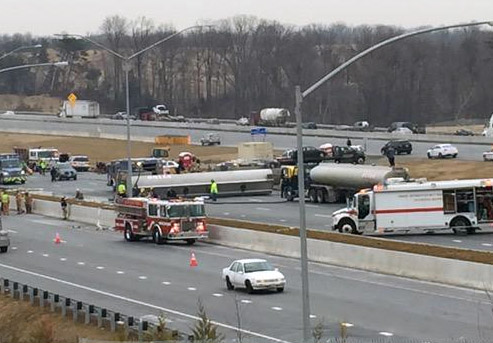 Overturned tanker spills fuel, closes stretch of I-95 in Md.