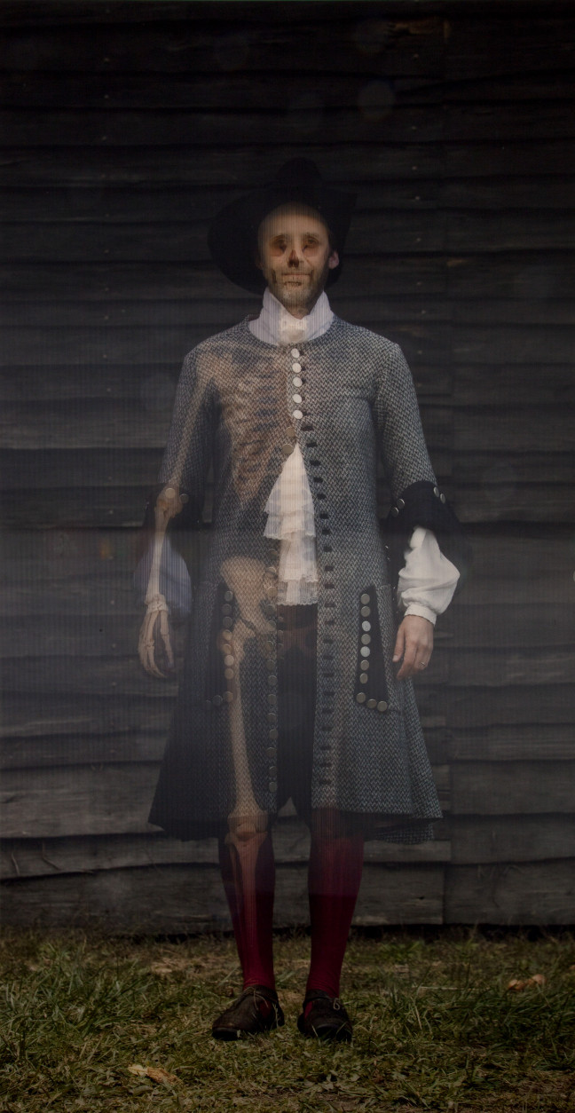 A holographic rendering of early Maryland leader Philip Calvert, based on remains found buried in a lead coffin in the foundation of a chapel in St. Mary's City, Maryland's first colony. (Courtesy Maryland Historical Society)