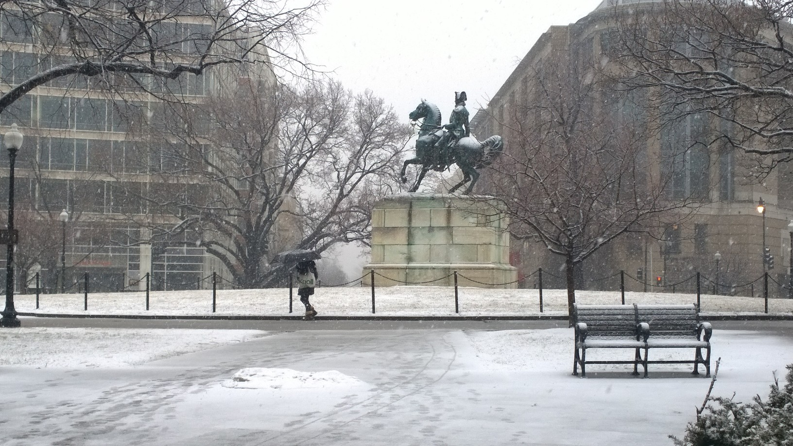 Washington Circle snow