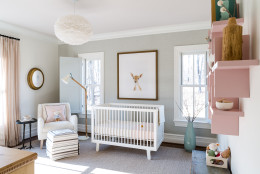 The nursery's design is kept clean and contemporary, in the space designed by Nancy Twomey from Finnian Interiors and Finnian's Moon. (WTOP/Rachel Nania)