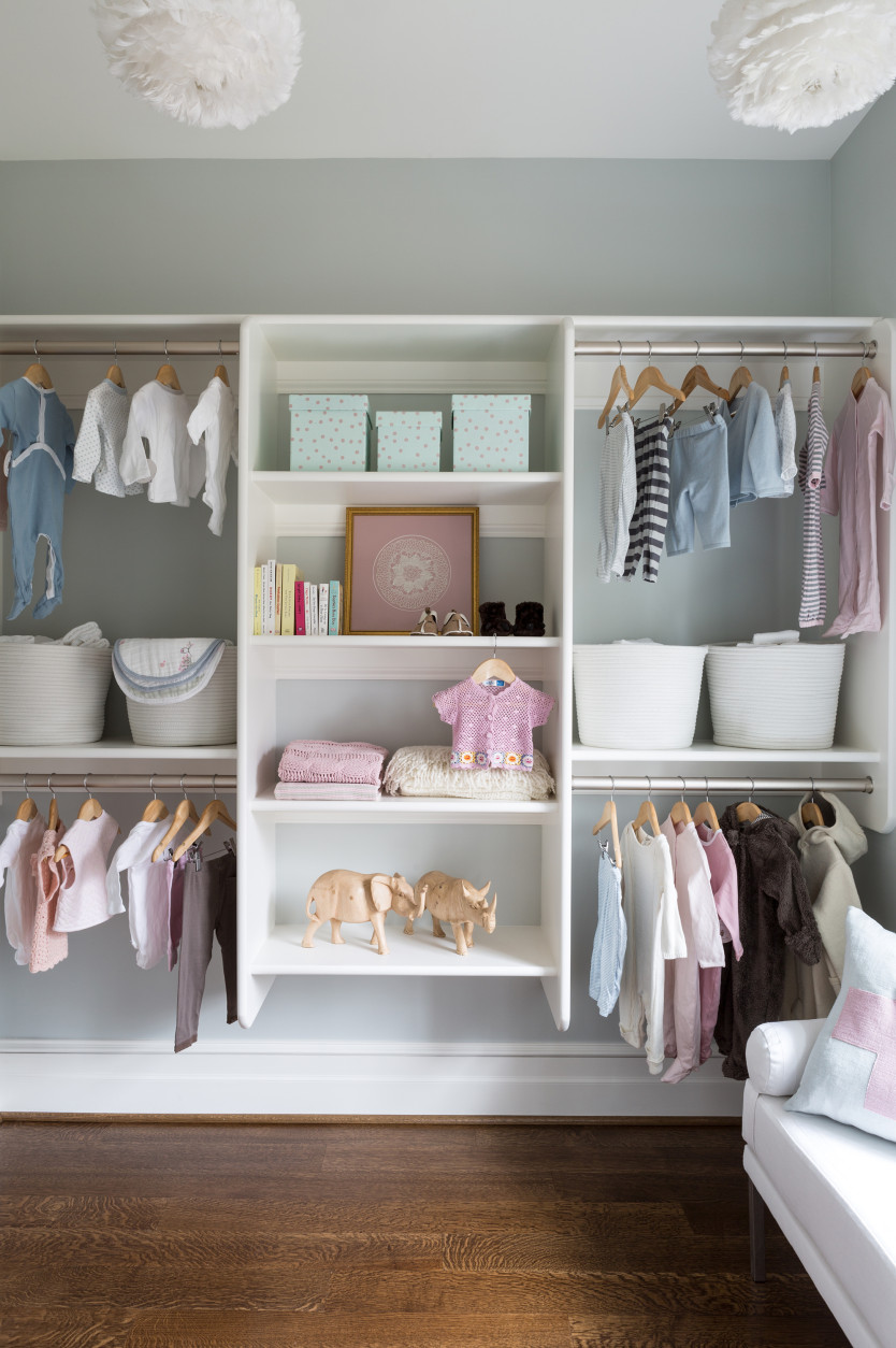 The closet inside the nursery, designed by Nancy Twomey from Finnian Interiors and Finnian's Moon.  (Courtesy Finnian Interiors and Finnian's Moon/ ©2015 Angie Seckinger)