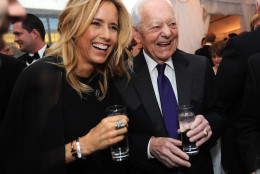 WASHINGTON, DC - APRIL 25: Actress Tea Leoni(L) and Bob Schieffer attend the National Journal and The Atlantic White House Correspondents' Pre-Dinner Reception at The Washington Hilton on April 25, 2015 in Washington, DC.  (Photo by Brad Barket/Getty Images)