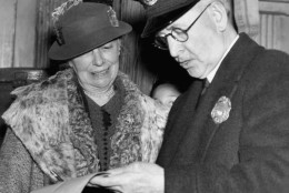 Mrs. Helen Taft, widow of the former President William Howard Taft, is checking with a customs officer as she arrived on April 5, 1936 in New York aboard the steamer vacation from Vera Cruz, Mexico, were she went for a winter holiday.   Mrs. Taft is returning to Washington D.C. to attend the cherry blossom festival which she established while in the White House (AP Photo)