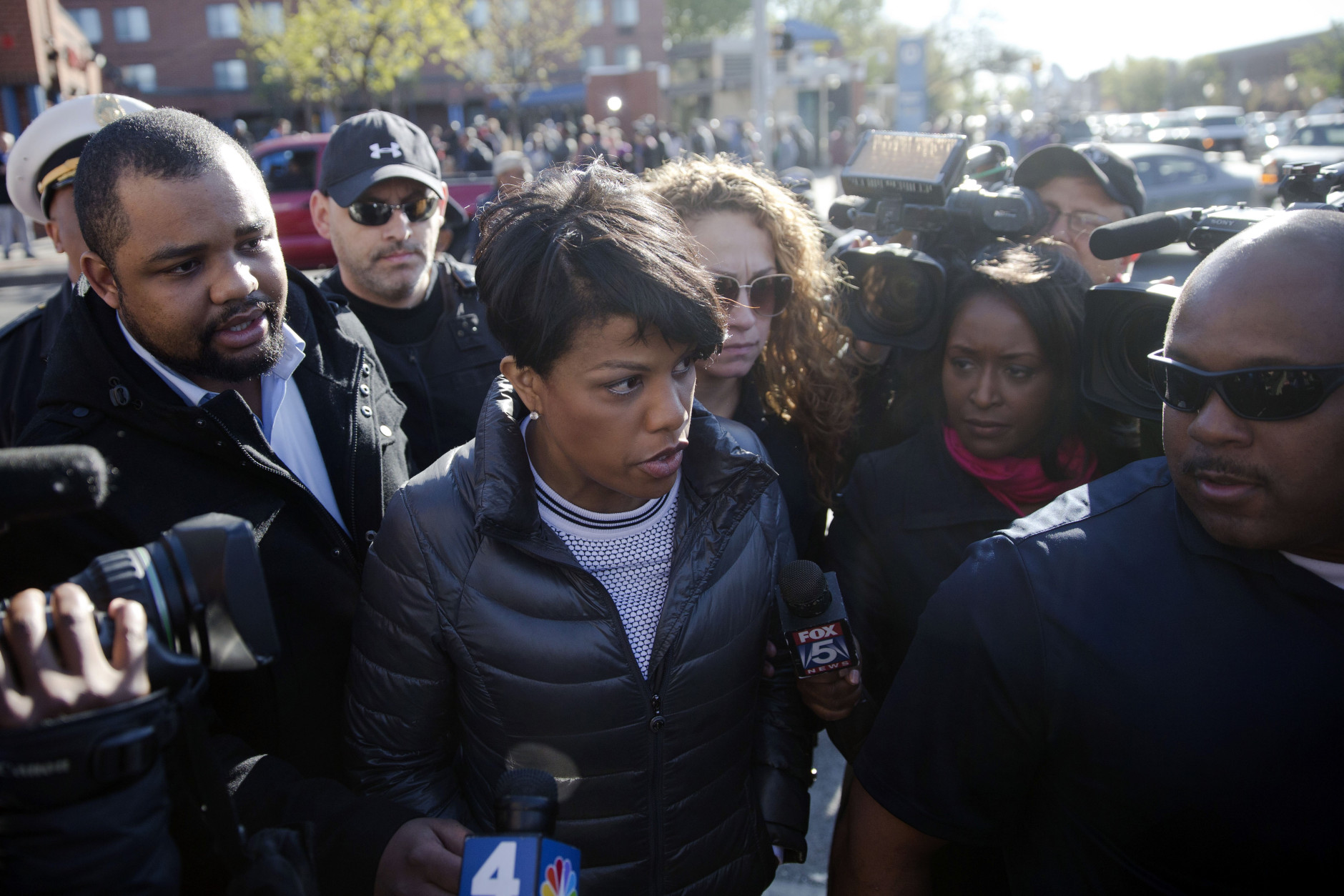 Baltimore Mayor Stephanie Rawlings-Blake tours the city Tuesday, April 28, 2015, in the aftermath of rioting following Monday's funeral for Freddie Gray, who died in police custody, in Baltimore. (AP Photo/Matt Rourke)