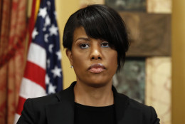 Mayor Stephanie Rawlings-Blake prepares to speak at a media availability at City Hall, Friday, May 1, 2015 in Baltimore.  Rawlings-Blake says five of six officers charged in the death of Freddie Gray are in custody. State's Attorney Marilyn J. Mosby announced criminal charges Friday against all six officers. (AP Photo/Alex Brandon)