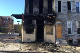 Charred buildings such as this are all over West Baltimore April 28, 2015. (WTOP/Nick Iannelli)