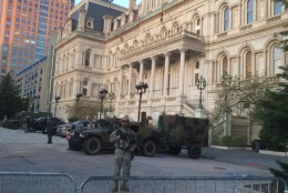 The scene in front of Baltimore City Hall on the morning of Wednesday, April 29, 2015. (WTOP/Nick Iannelli)