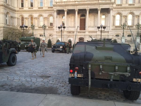 Soldiers at Baltimore City Hall on the morning of Wednesday, April 29, 2015. (WTOP/Nick Iannelli)