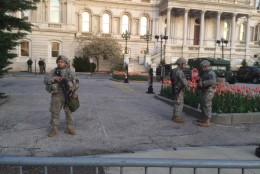 Soldiers guard City Hall in Baltimore on Wednesday, April 29, 2015. (WTOP/Nick Iannelli)