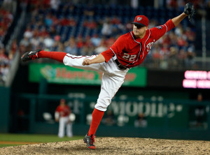 A lot more weight will rest on the right arm of Drew Storen following the departures of Tyler Clippard and Rafael Soriano. (AP Photo/Alex Brandon)