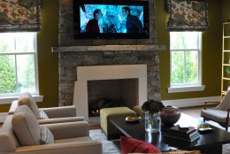 The comfortable and functional family room in the DC Design House. (WTOP/Rachel Nania)
