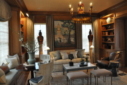 When designing the home's library, Michael Hampton, of Michael Hampton Designs, was inspired by the classic American farmhouse and Greek revival style. (WTOP/Rachel Nania)