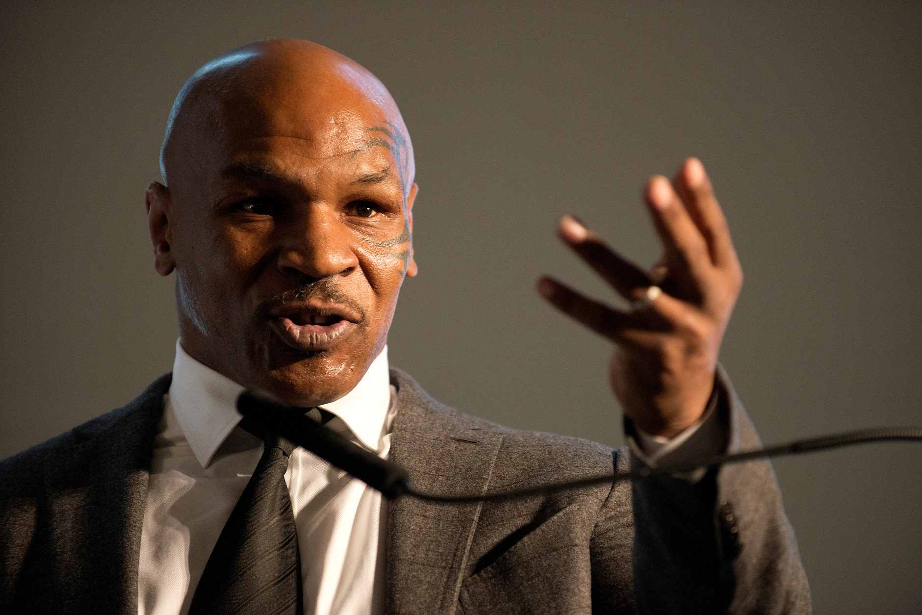 Former heavyweight boxing champion Mike Tyson speaks during the 2nd Annual Prisoner Reentry Conference at St. Peter's University in Jersey City, N.J., Thursday, April 2, 2015. (AP Photo/The Jersey Journal, Reena Rose Sibayan)