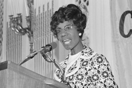 "Shirley Chisholm, Democratic Congresswoman seeking the nomination for president, makes a point during a speech in San Francisco on Tuesday, May 16, 1972.   Under close guard from the secret service, Mrs. Chisholm was addressing the Commonwealth Club luncheon where she asked ""How many more assassinations..before we realize the need to control weapons.""   (AP Photo/ Richard Drew)"