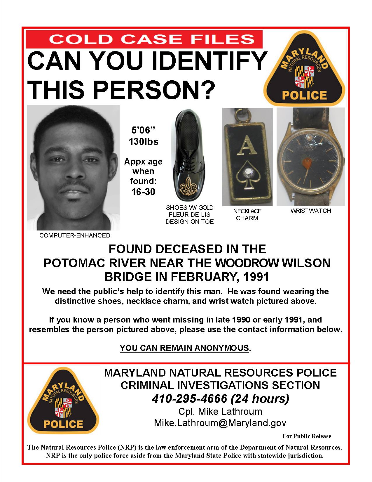 Cold case: Police try to ID body found in Potomac in 1991