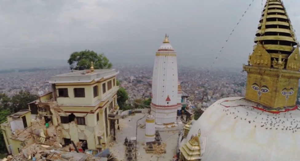 Drone footage captures Nepal destruction
