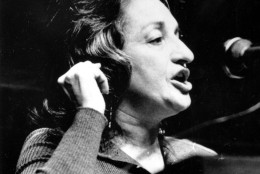 "Women's rights activist Betty Friedan addresses a conference on ""Women: A Political Force"" at the State Assembly chamber in Albany, N.Y. on Nov. 13, 1971. The two-day conference was called by the women's unit of the governor's office to stimulate and unite New York State women to increase the effectiveness of their political power. (AP Photo)"
