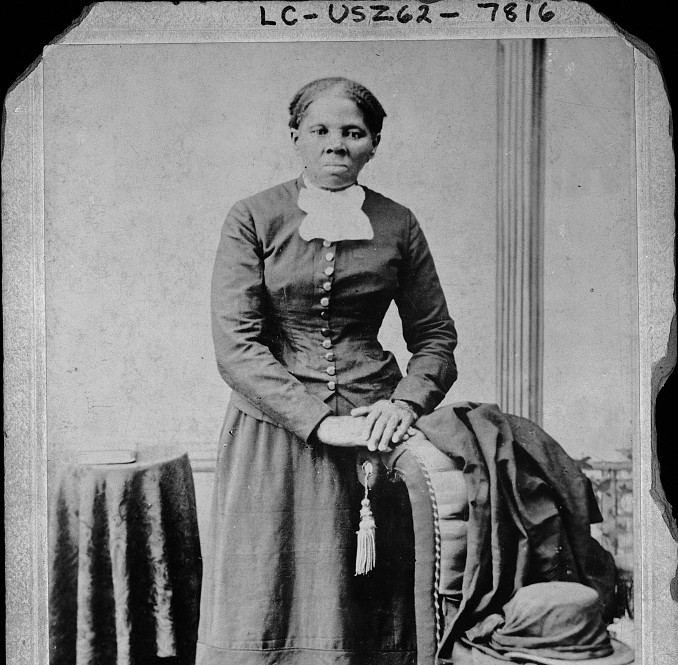 This portrait of Harriet Tubman was taken between 1860 and 1875. The caption notes she was a nurse, spy and scout. (Library of Congress)