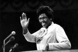 "FILE - In this July 12, 1976, file photo, Rep. Barbara Jordan of Texas waves as she speaks to the Democratic National Convention in New York City. Clint Eastwood gave the Republicans some offbeat remarks to remember in 2012. Will the Democrats come up with any memorable lines? Some past Democratic convention speeches that live on include Jordan becoming the first black and first woman to deliver the party's keynote address: ""My presence here is one additional bit of evidence that the American Dream need not be forever deferred,"" she said. (AP Photo/File)"