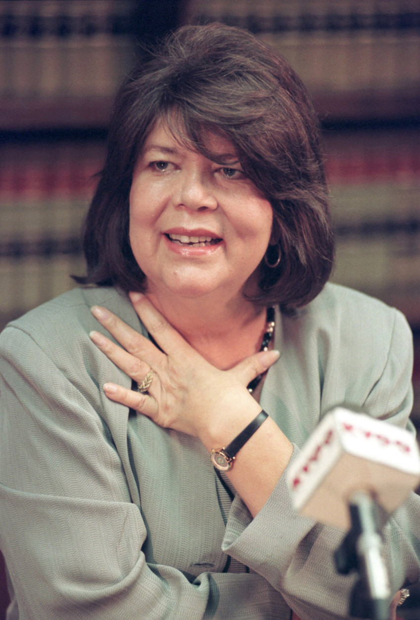 FILE - In this Sept. 19, 1996 file photo, Wilma Mankiller, former Cherokee Nation chief, speaks during a news conference  in Tulsa, Okla. Mankiller, was one of the few women ever to lead a major American Indian tribe, died Tuesday April 6, 2010 after battling pancreatic cancer. She was 64. (AP Photo/Michael Wyke)