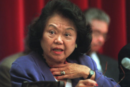 Rep. Patsy Mink, D-Hawaii takes part in a hearing of the House Education and the Workforce Committee hearing on the whether to issue subpoenas on the 1996 Teamsters elections. (AP Photo/Karin Cooper)