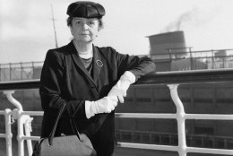 Frances Perkins, who celebrated her 70th birthday last April, is about to step out of a Washington career that began in 1933. She has prepared her formal resignation as one of the three members of the Civil Service Commission. She served as Secretary of Labor from March 1933 to June 1945. At left, she is shown about the time when she returned from an International Labor Organization Conference at Geneva in 1952. (AP Photo)