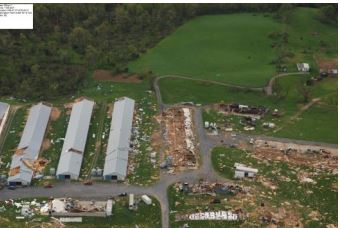 A poultry house was damaged by a tornado in Shenandoah County, Virginia, on April 28. (National Weather Service)