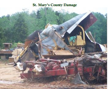 Tornado damage in St. Mary's County in April 2011. Nineteen tornadoes were reported in the greater D.C. area in less than 24 hours between April 27 and 28. (National Weather Service)