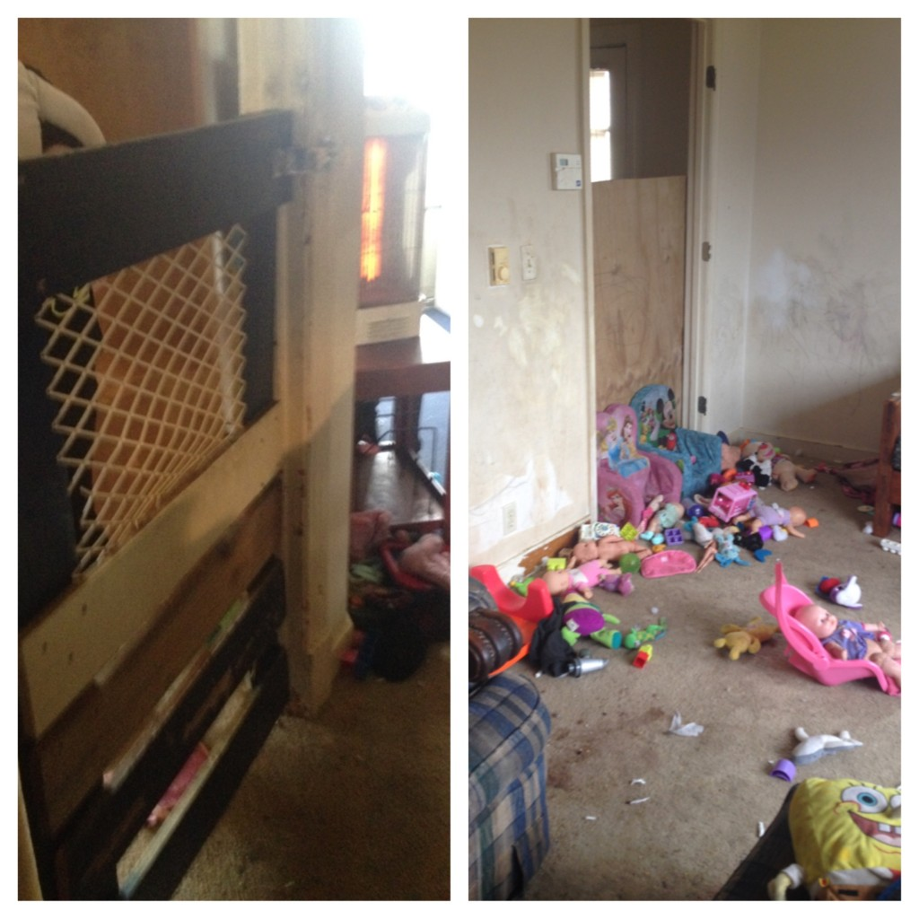 Photo taken at scene shows the gate through which the children were fed. (Courtesy Spotsylvania County Sheriff's Department)