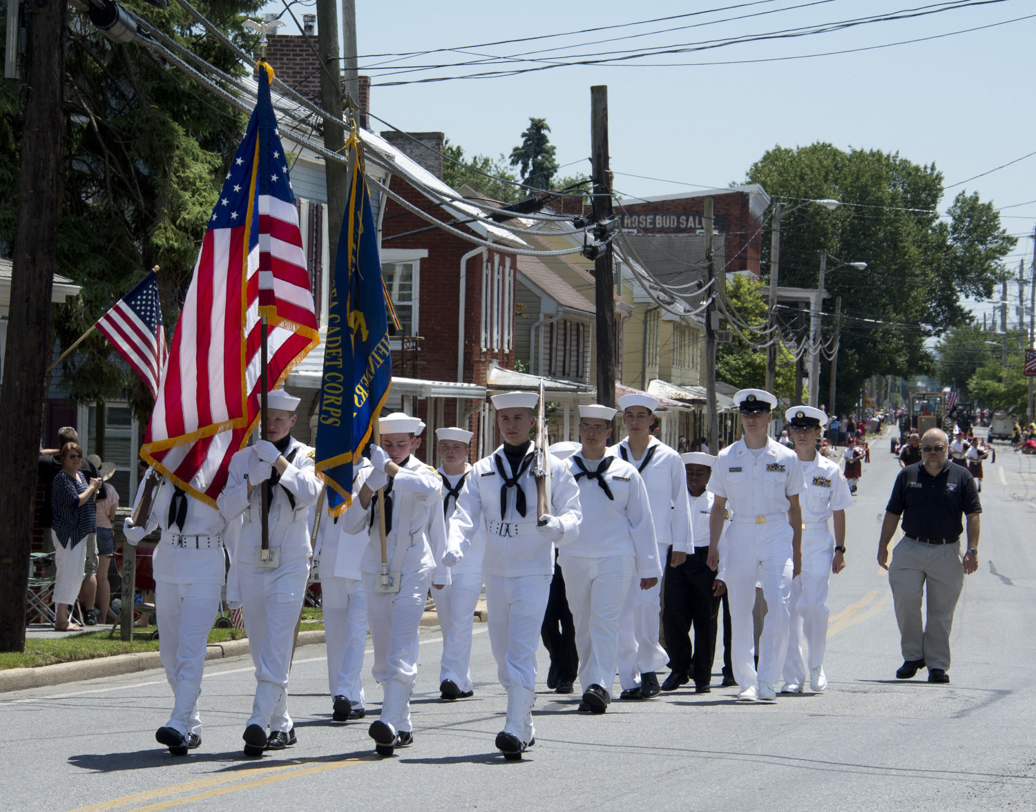 <p>An honor guard from the Naval Sea Cadet Corps marches Sunday afternoon at the front of the annual Woodsboro Memorial Day Parade sponsored by the Glen W. Eyler Post 282, Woodsboro American Legion.</p>