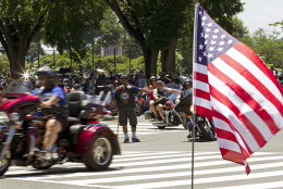 Participants in the Rolling Thunder annual motorcycle rally ride in the national mall during the annual Rolling Thunder parade ahead of Memorial Day in Washington, Sunday, May 24, 2015.  (AP Photo/Jose Luis Magana)