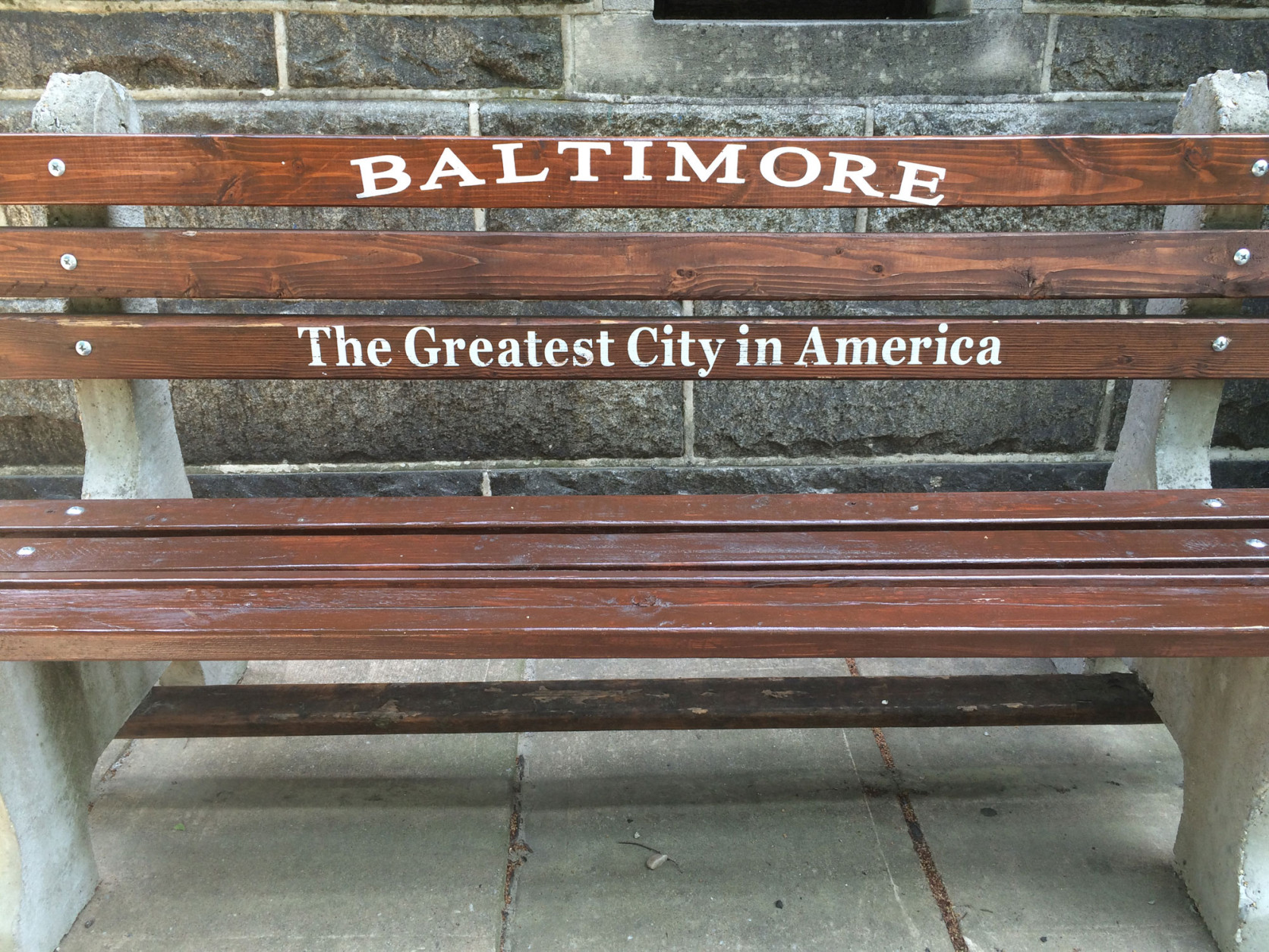 "The benches in Baltimore, ""The Greatest City in America."" (WTOP/Noah Frank)"