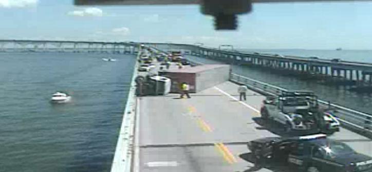 Tractor-trailer crashes, overturns on Bay Bridge