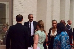 Eric Holder was among those attending the Ford's Theatre Society's gala, which included a special performance and dinner. (WTOP/Jason Fraley)