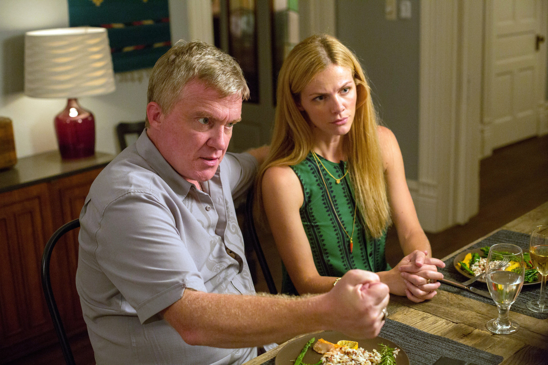 "This photo provided by courtesy of Magnolia Pictures shows, Anthony Michael Hall, left, and Brooklyn Decker, in a scene from the film, ""Results,"" a Magnolia Pictures release. (Ryan Green/Magnolia Pictures via AP)"