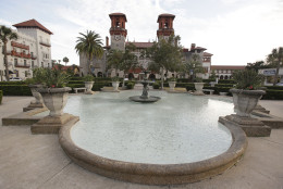 In this Tuesday, Feb. 3, 2015 photo, the Lightner Museum, housed in a building constructed in 1887, is seen the in St. Augustine, Fla. St. Augustine is one of many chronically flooded Florida communities afraid their buildings and economies will be inundated by rising seas in just a couple of decades. (AP Photo/John Raoux)